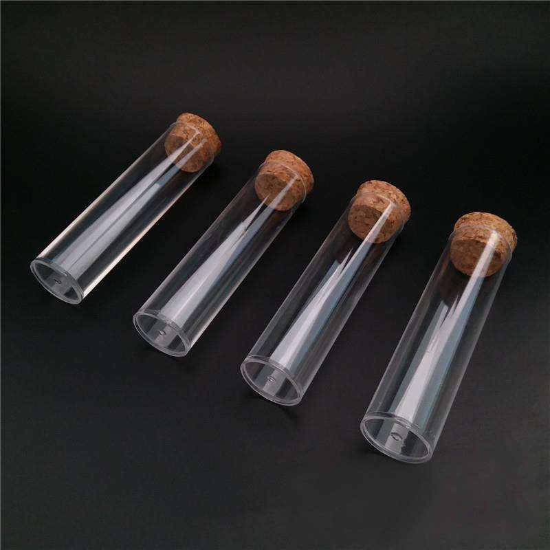 50 Pieces/pack 25*95mm Flat Bottom Plastic Test Tube Tea Packing Tube With Cork