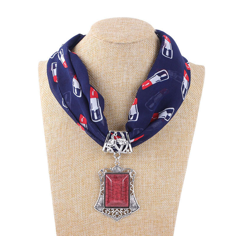 Solid Color Jewelry Statement Necklace Chiffon Pendant Scarf Women Bohemia Neckerchief  Foulard Femme Accessories Hijab Stores
