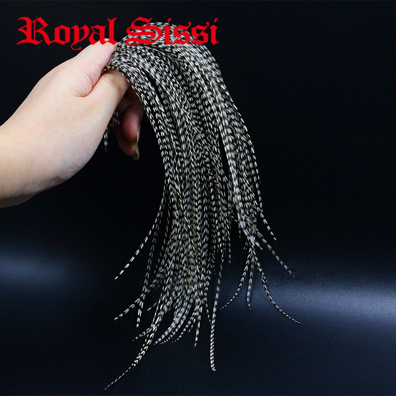 Royal Sissi 20feathers Whiting black&white grizzly fly tying rooster saddle feather 6-9''Long 12#-16#dry fly tying saddle hackle
