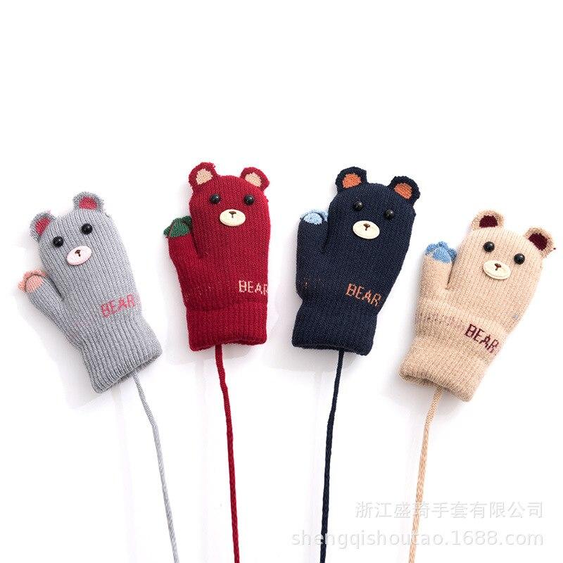 Sheng Qi 2019 Winter CHILDREN'S Gloves Cute Bear Bao Seed Cartoon Halter Thermal Knitted Mitten