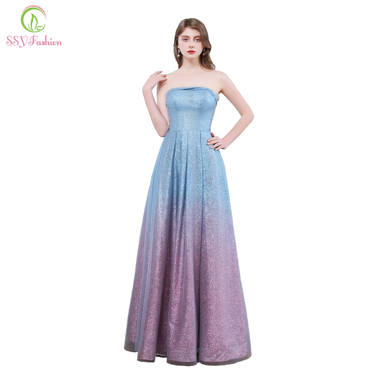 SSYFashion New Banquet Sparkling Evening Dress Strapless Sequins Gradient Blue Purple Dream Long Formal Gowns Vestido De Noche