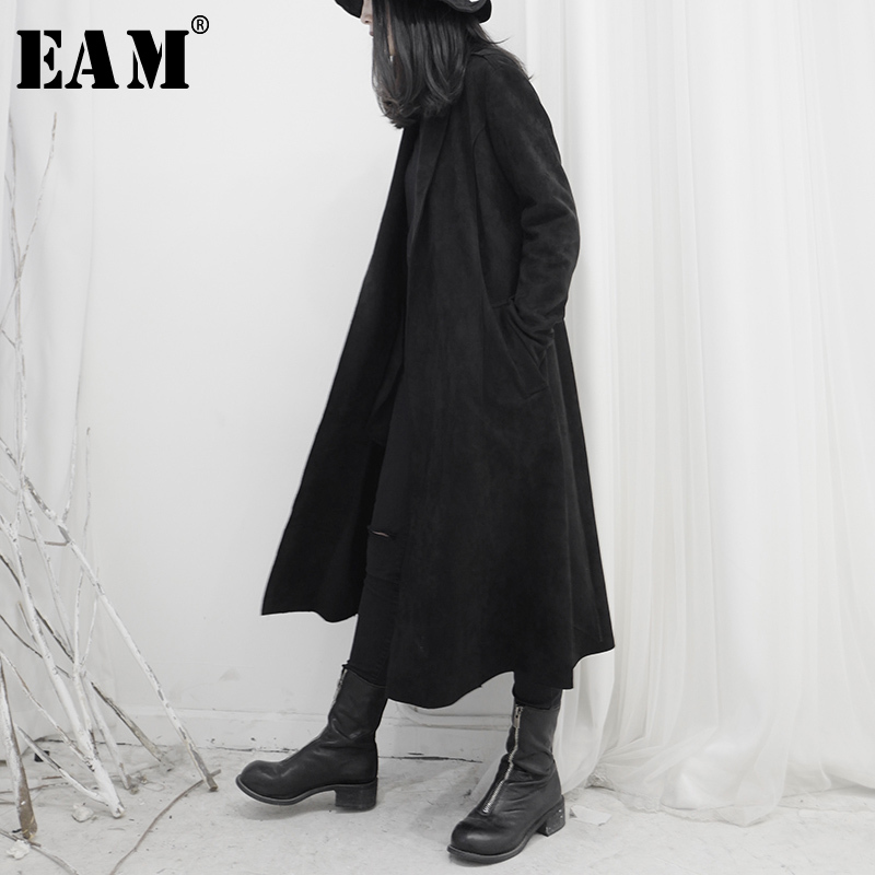 [EAM] Women Black Suede Bandage Big Size Trench New Lapel Long Sleeve Loose Fit Windbreaker Fashion Tide Spring 2020 1S252