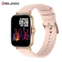 2021 Smart Uhr Frauen Full Touch Fitness Tracker Blut Druck Wasserdicht GTS 2 Smartwatch Männer Sport Smart Uhr Y20 P8 plus