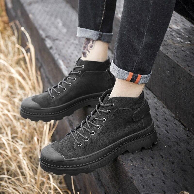 Из полиуретана с открытыми порами ботильоны; ботинки в байкерском стиле в стиле панк из натуральной кожи; обувь с высоким берцем и на высоко... - 5