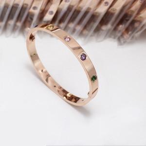 Amor pulseiras de titânio aço oval casal feminino parafuso pulseiras cor & 10 pedra pulseiras femme bijoux pulseira sem caixa