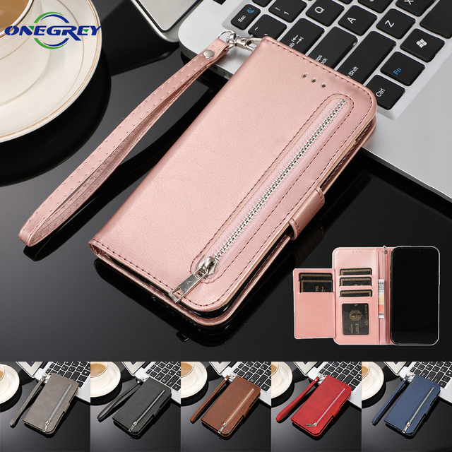 Zipper Wallet Case For Samsung Galaxy S21 S20 FE S10 S9 S8 Ultra Plus Note 20 10 9 8 S7 Edge Flip Leather Cards Phone Bags Cover