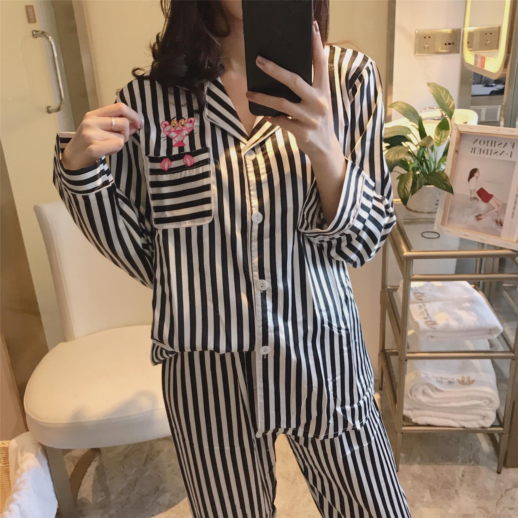 WOMEN 'S Pajamas Spring And Autumn Viscose Long Sleeve Thin Stripes Silk Sexy Tracksuit Summer South Korean Set