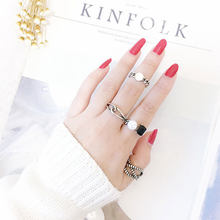 Vintage Twist Hemp Rope Black White Zircon Thai Silver Opening Rings With Pearl Embellished For Men Women S-R42(China)