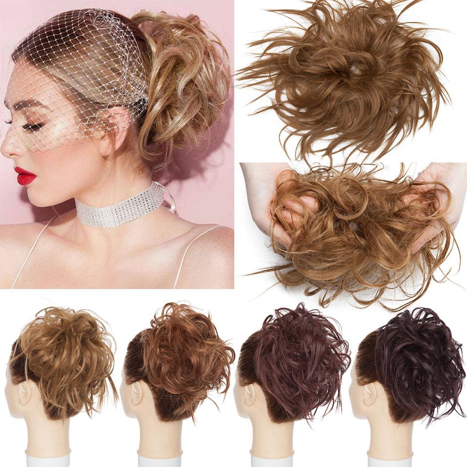 S-noilite Fake Hair Bun Extension Synthetic Women Chignon Hair Haipiece Tousled Messy Bun Instant Ponytail Hair For Women