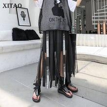 XITAO Mesh Hollow Out Print Letter Long Skirt Women Tape Elastic Waist Black Casual A line Summer 2019 New Korea WLD1084