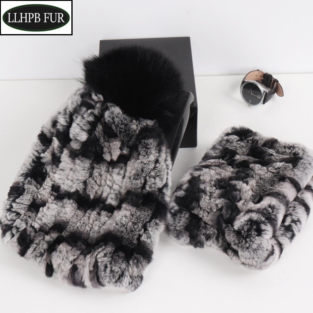 Lady  Knitted Good Elastic Real Fur Scarf Hat Sets Women Winter Warm Genuine Rex Rabbit Fur Scarves Hats Sets Natural Fur Set