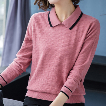 Shintimes Winter Striped Women Sweater Long Sleeve 2020 Autumn Turn-Down Collar Sweaters Pullovers Woman Fall Knitted Pull Femme 2019 new women sweaters and pullovers autumn winter long sleeve pull femme striped pullover female casual knitted sweater