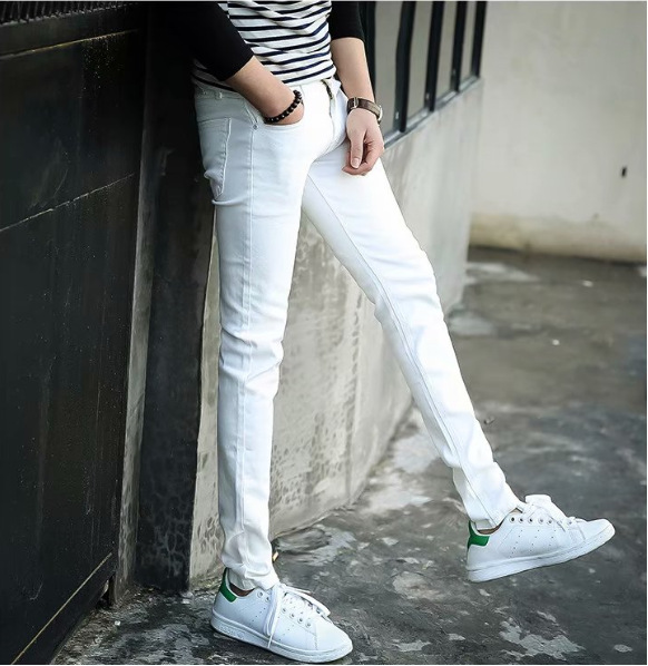 MEN'S Jeans Solid White Elasticity Youth Summer Thin Section Slim Fit Skinny Pants Korean-style Trend Casual Long Pants