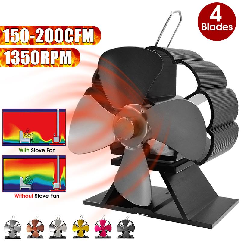 Effecient 4 Blades Heat Powered Stove Fan Log Wood Burner Ecofan Quiet Black Home Mini Fireplace Fan Efficient Heat Distribution