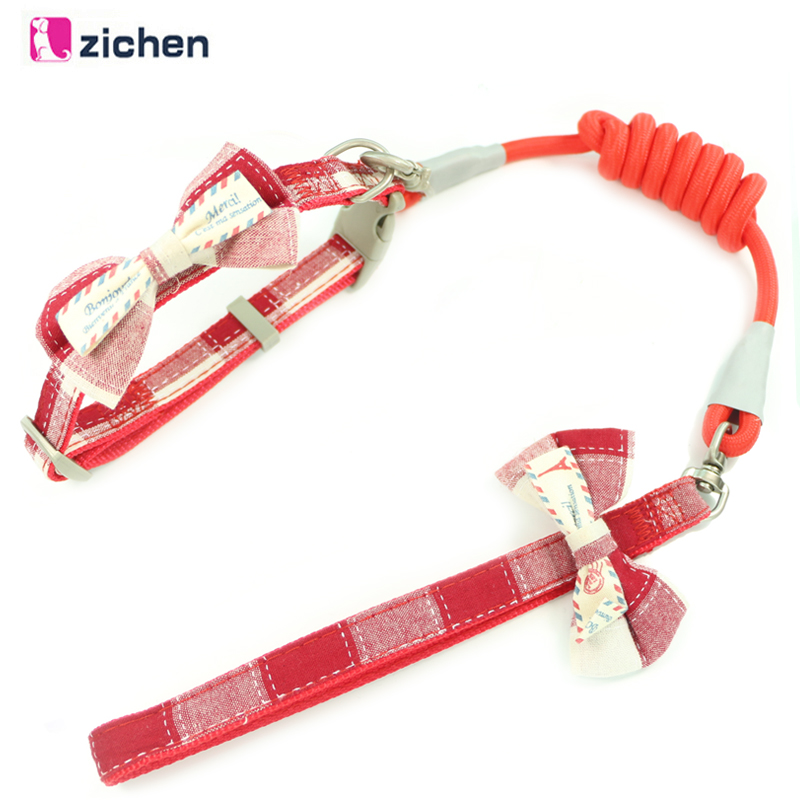 Zichen Pet Dog Leash Collar Plaid Bow For Dogs Collars Set Nylon Adjustable Durable Training Supplies S-M