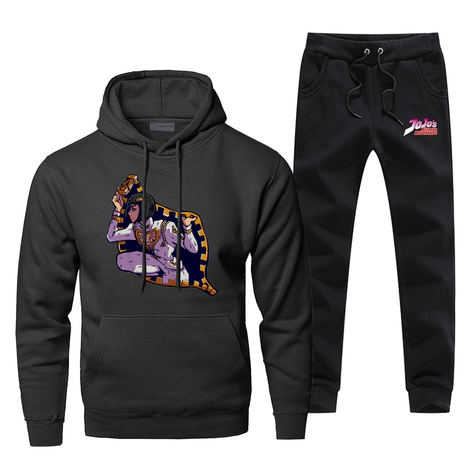 Jojo Bizarre Adventure Mens Hoodies Sets Two Piece Pant Hoodie Sweatshirt Sweatpants Streetwear Funny Science Male Sweatshirts
