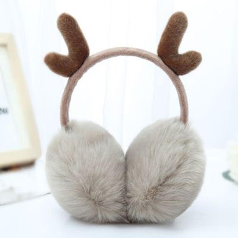 Super Soft Plush Ear Muff Cute Antlers Fur Winter Earmuffs For Women Warm Earmuffs Ear Warmer Gifts For Girls