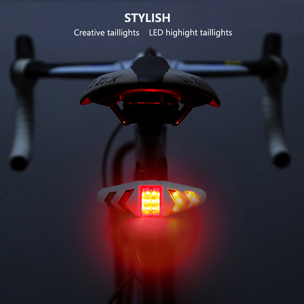 Bicycle USB LED Headlights Indicator Wireless Remote Control Turn Signal Lamp Mountain Bike Cycling Lights Flashing Taillight image