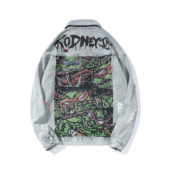 KIMSERE Men Graffiti Ripped Hip Hop Jean Jackets With Holes Hi Street Printed Denim Trucker Jacket Outerwear Fashion Streetwear
