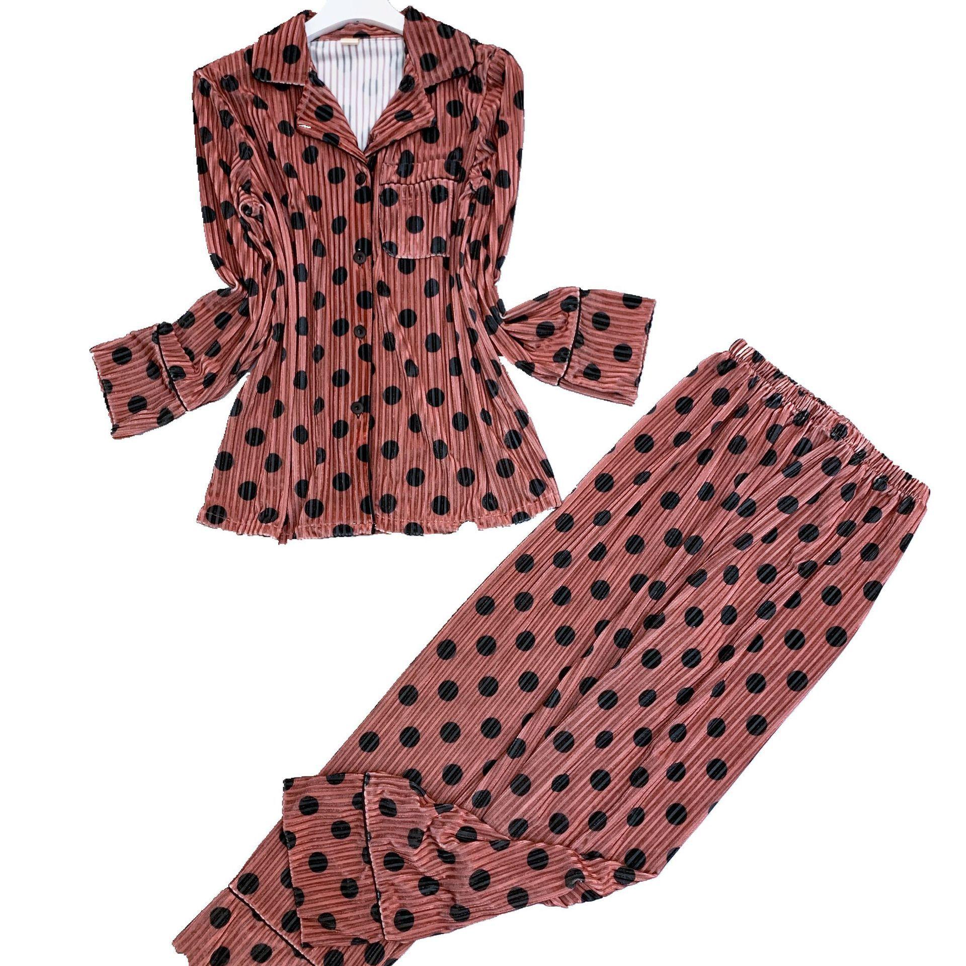 Lisacmvpnel Autumn Gold Velvet Women Pajama Set Polka Dot Long Sleeve Thicken Sleepwear