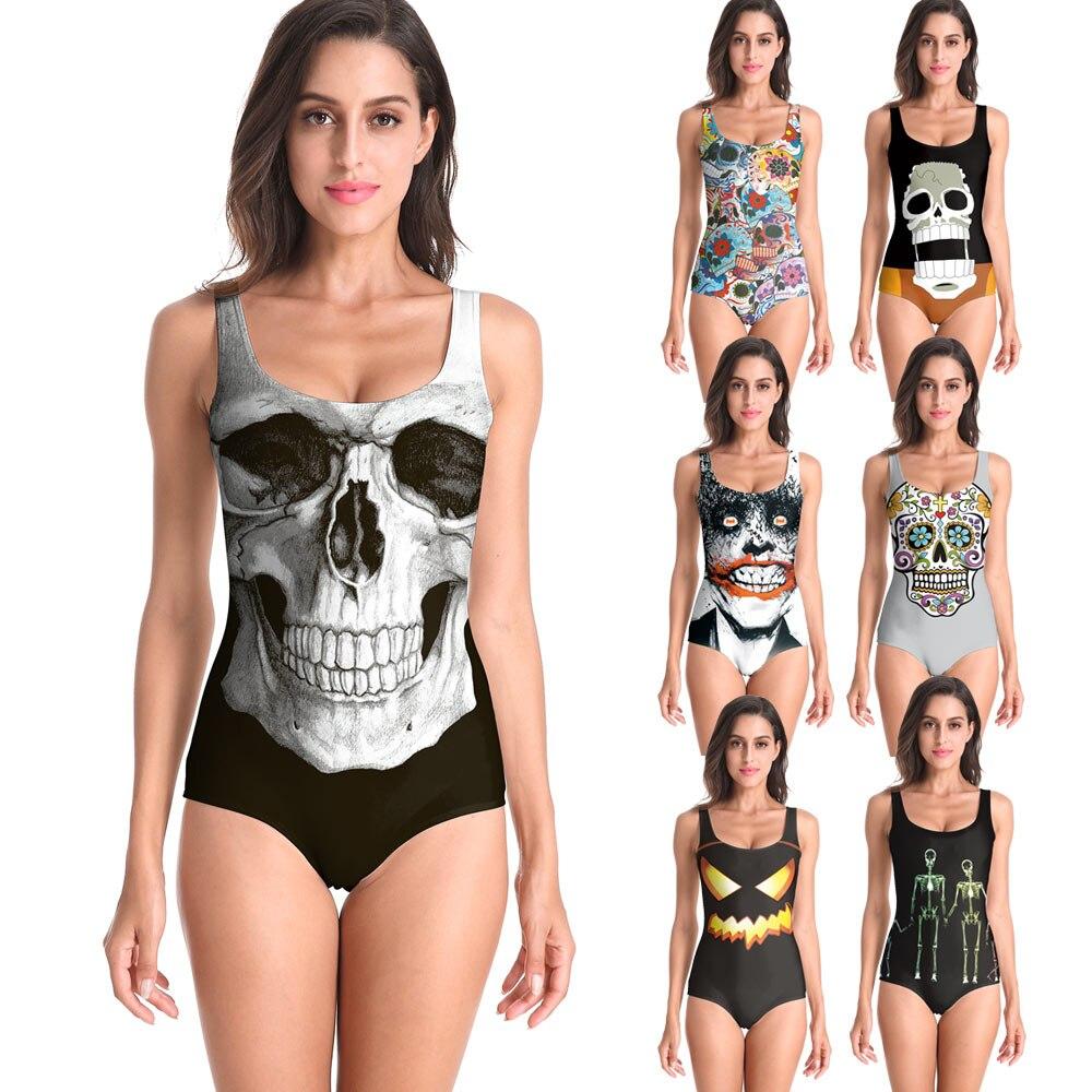 Новинка, летние сексуальные купальники со скелетом на Хэллоуин, тыква, Череп, боди, 3D принт, цельный женский купальник, спортивный купальник, плюс размер|Комбинезоны|   | АлиЭкспресс