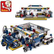 цена на Sluban F1 Racing Car station 741pcs Educational DIY Bricks Building Blocks educational toys compatible with lepin Minifigures