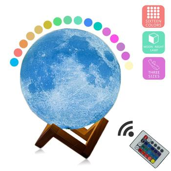 New Arrival 3D Print Star Moon Lamp 16 Colorful Change Touch Home Decor Creative Gift USB Rechargeable Night Light Galaxy Lamp dropship 3d print moon lamp 20cm 18cm 15cm colorful change touch usb led night light home decor creative gift