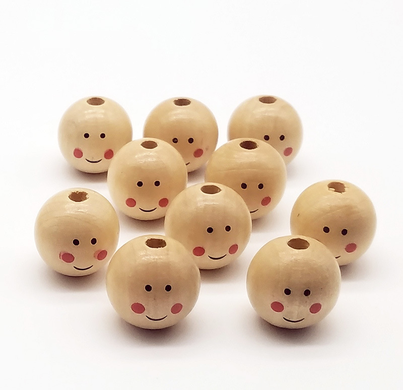 Charm Hardwood smiley face doll head wood beads boys and girls wood products DIY children for jewelry making
