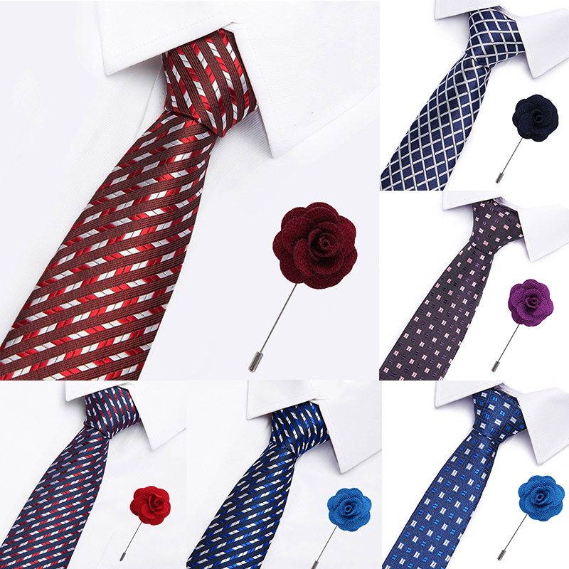 Wedding Men's Brooch Ties Set 7.5 Cm Dot Stripe Red Necktie Formal Dress Accessories Business For Gift Mens Classic Ties
