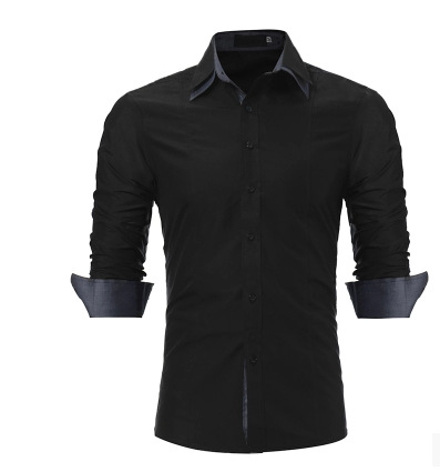207 New Products Men Fashion Slim Fit Mercerized Applique MEN'S Long-sleeved Shirt Double Layer Collar Mixed Colors Shirt