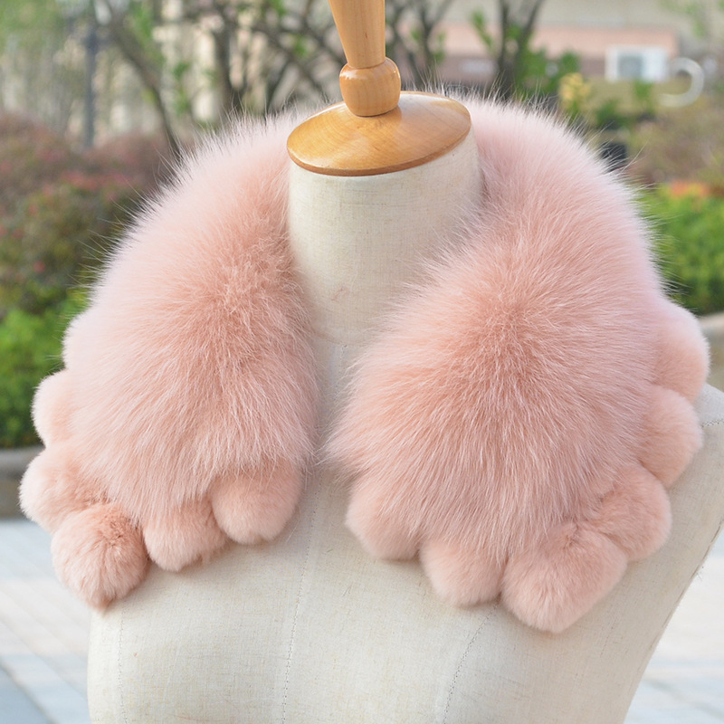 JKP 2019 New Real Rex Rabbit Fur Collar Scarves Winter Warm 100% Natural Fox Fur Scarf Shawl Fashion Luxury Scarf Collar