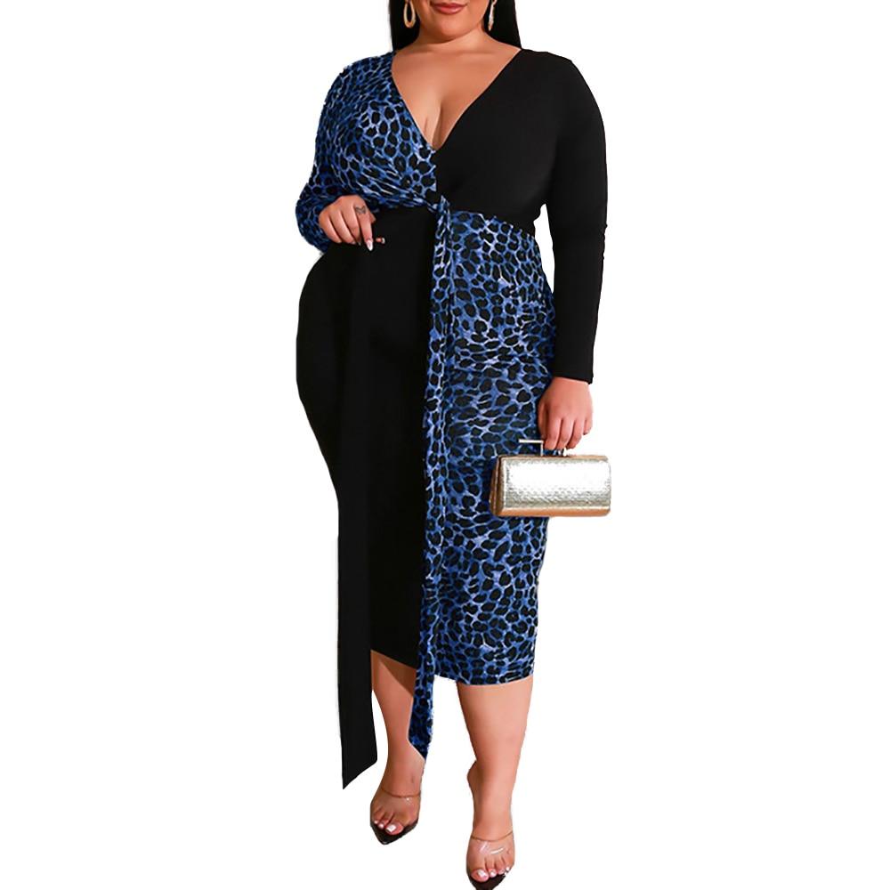 4XL Leopard Print Dress Sexy Deep V Party Dress Elegant Patchwork Bowknot Plus Size Dress Long Sleeve Bodycon Dresses vestidos