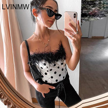 LVINMW Sexy Strapless Fleece Bont Patchwork Polka Dot Print Tube Tops Winter Vrouwen Slash Hals Slim Crop Tops Party Streetwear(China)