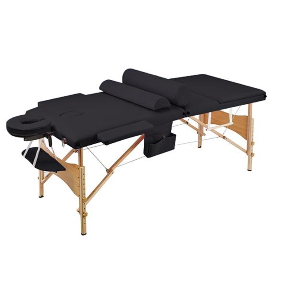 3 Sections Folding Portable SPA Bodybuilding Massage Table Set Black
