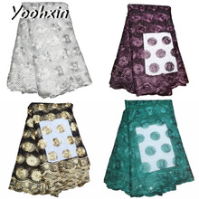HOT african flower lace fabric Embroidered sewing DIY trim Ribbon guipure dress craft accessory 5 yards