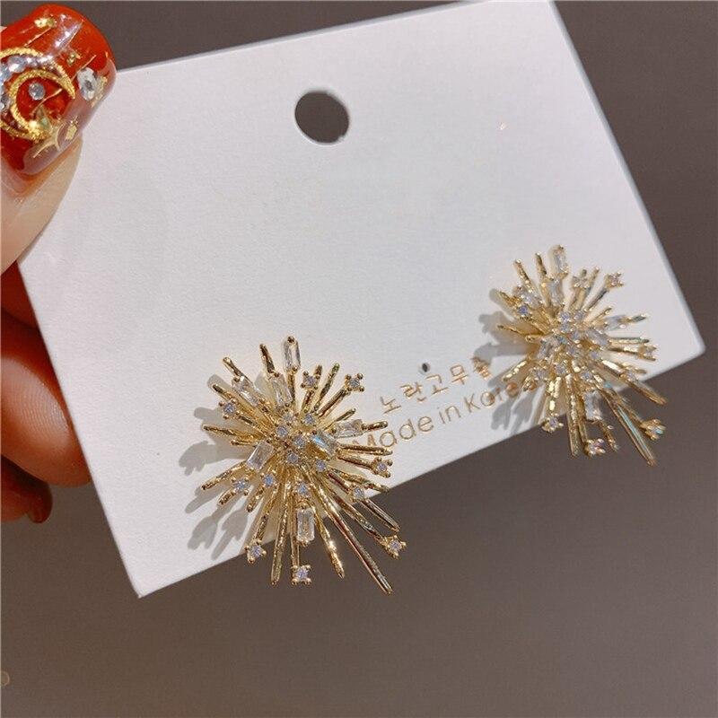 MENGJIQIAO New Fashion Design Fireworks Elegant Stud Earrings For Women Zircon Flower Wedding Jewelry Oorbellen Accessories