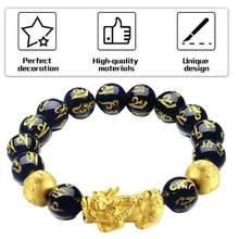Pulseira de pedra pulseira de ouro e boa sorte pulseiras de mulheres unisex feng shui pi xiu obsidian