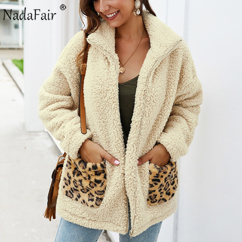 Nadafair Leopard Patchwork Casual Teddy Coat Women Faux Fur Coat 2019 Autumn Winter Fur Jacket Plus Size Plus Overcoat Outwear
