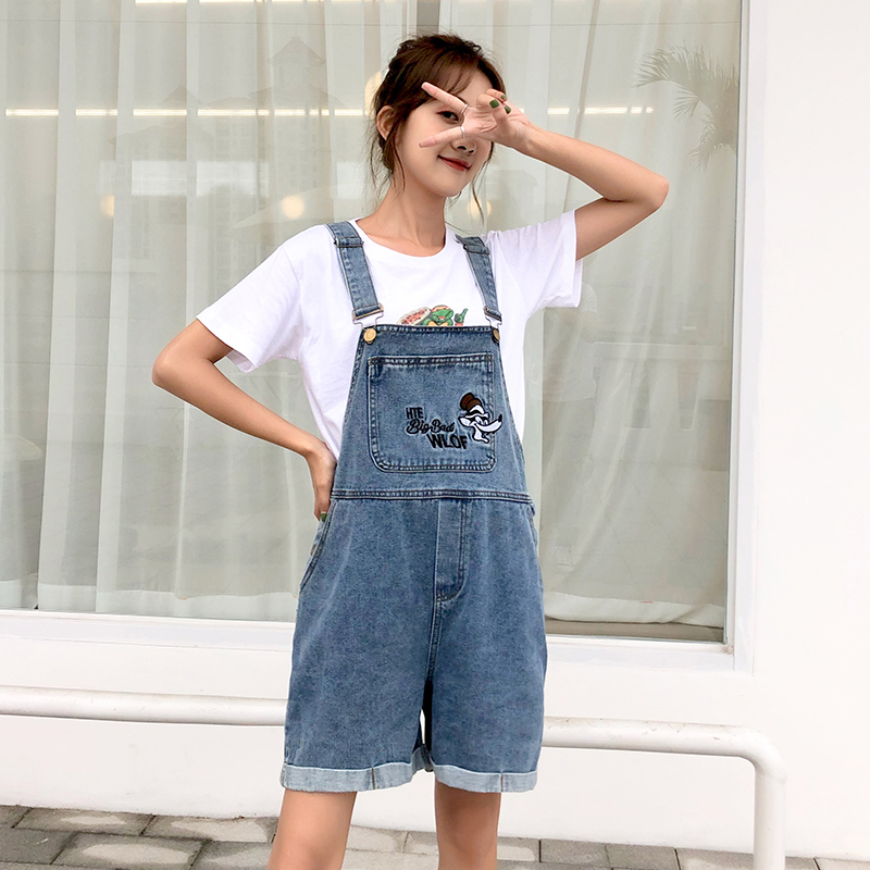 New Cartoon Embroidery Jeans Overalls Jumpsuits For Women Summer Denim Overalls Wide Leg Shorts Roll Up Cuffs