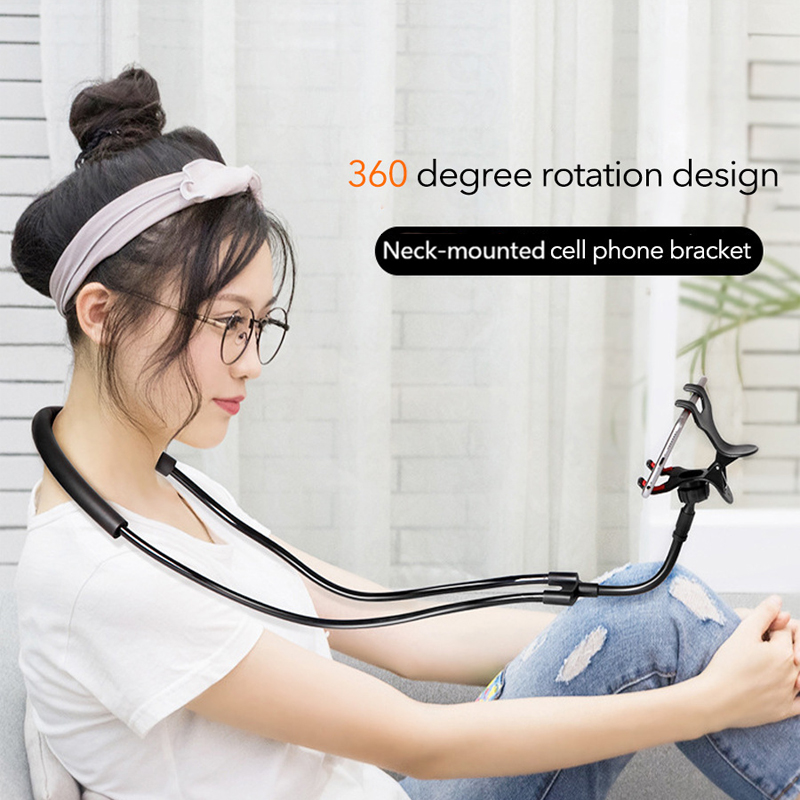 Flexible Neck Lazy Mobile Phone Holder Hanging Necklace Bracket 360 Degree Phones Holder Stand For 3.5-6.3 Inch Mobile Phone