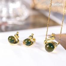 Bastiee Mexican Amber Swan 925 Sterling Silver Jewelry Sets For Women Neclace Pendants Golden Plated Stud Earrings Luxury Gifts
