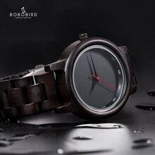 ボボ鳥時計男性レロジオ Masculino シンプルな腕時計黒檀日本運動カスタムテキストクリスマスギフトに夫息子