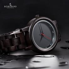 بوبو الطيور ساعة الرجال Relogio Masculino بسيطة ساعة اليد خشب الأبنوس اليابانية حركة نص مخصص هدية الكريسماس لابن الزوج