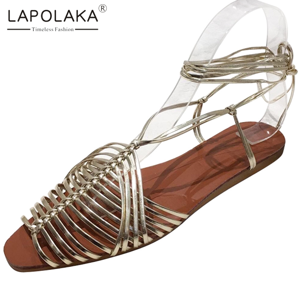 Lapolaka 2020 Hot Sale Gladiator Women Sandals Flat With Cross-tied Summer Casual Woman Shoes