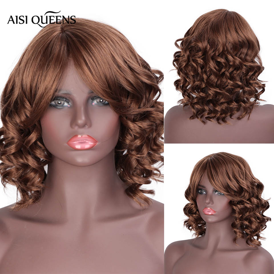 AISI QUEENS 12inch Synthetic Short Wigs For Black White Women With Bangs Water Wave Brown Red Black Natural Wig Cosplay Hair