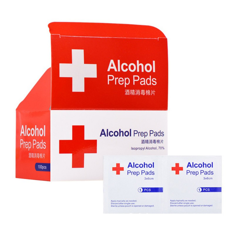 Portable 100PCS Alcohol Swabs Pads Wet Wipes 70% Isopropyl First Aid Home Skin Cleanser Sterilization