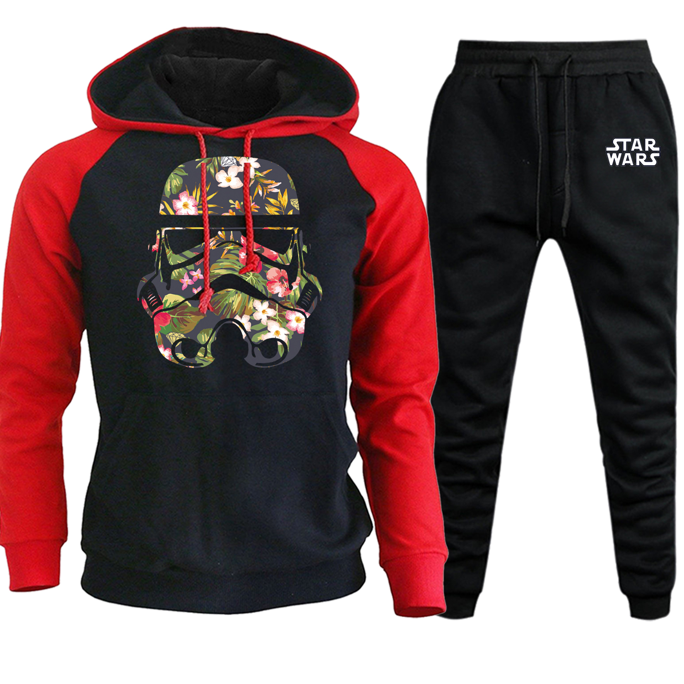 Autumn Winter Star Wars Funny Stormtrooper Hooded Raglan Mens Sweatshirts Suit Casual Pullover Fleece Hoodie+Pants 2 Piece Set