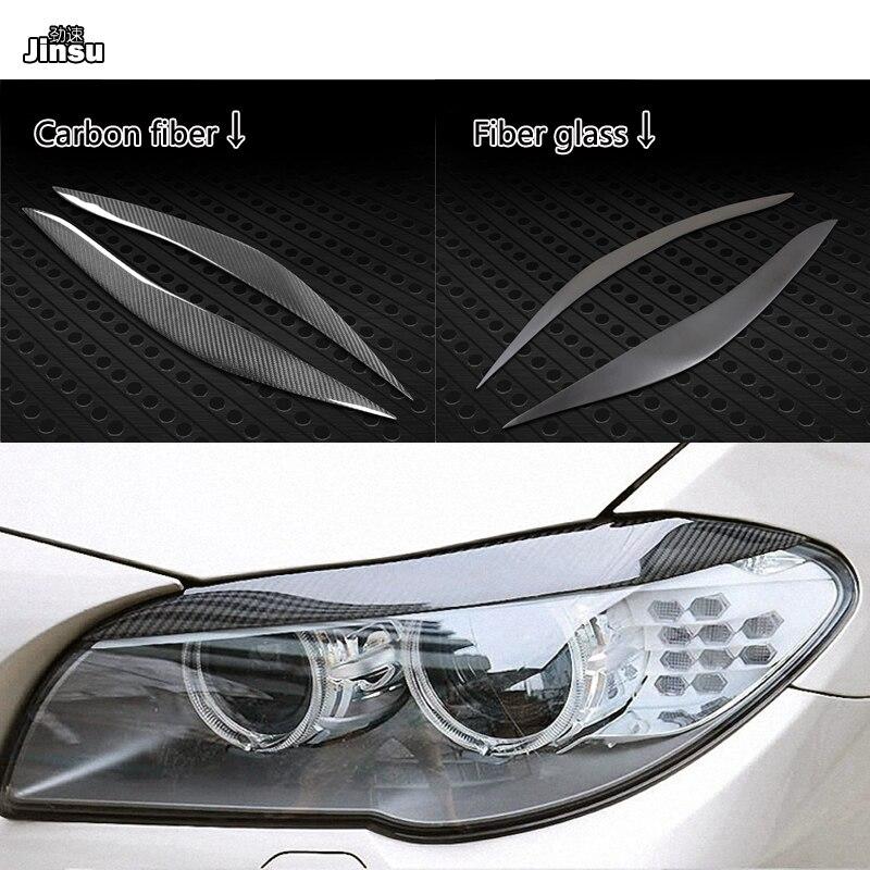 Paupières de sourcil de phare de Fiber de carbone pour BMW série 5 518d 520i 528i 535i F10 M5 apprêt de fibre de verre autocollant décoratif de voiture 2pc