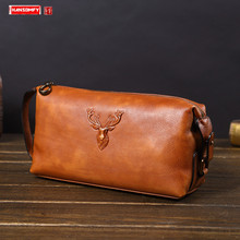 Soft Leather Men's Clutch Bag Large-capacity Leather Handbag