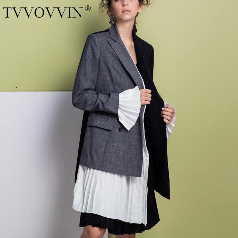 Женское Асимметричное пальто TVVOVVIN, разноцветное Плиссированное пальто с манжетами, осень 2019